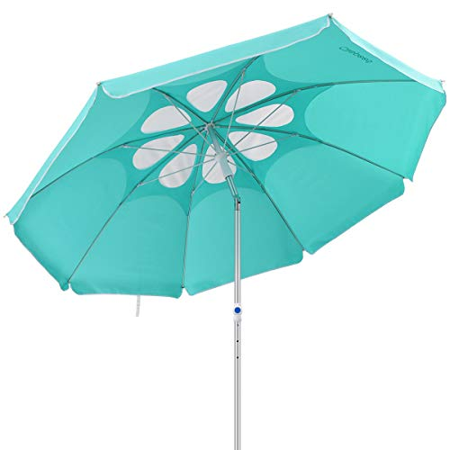 CLISPEED 7 Feet Beach Umbrella with Tilt Aluminum Pole, Flower Vents Design Windproof Patio Umbrella UV 50+ Protection Sun Shelter for Sand and Outdoor Activities