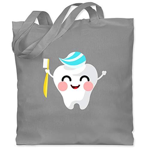 Shirtracer Karneval & Fasching - Zahnfee mit Zahnpasta - Unisize - Hellgrau - Verkleidung Kostüm - WM101 - Stoffbeutel aus Baumwolle Jutebeutel lange Henkel