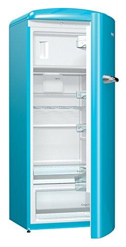 Gorenje ORB 153 BL Kühlschrank mit Gefrierfach / A+++ / Höhe 154 cm / Kühlen: 229 L / Gefrieren: 25 L / Blau / DynamicCooling-System / LED Beleuchtung / Oldtimer / Retro Collection