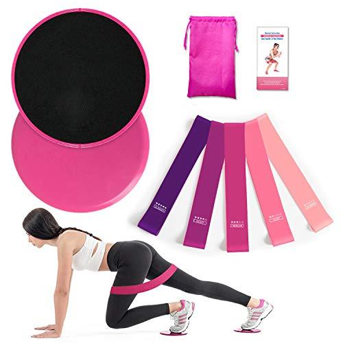 AUTUWT 2 Kern Übung Sliders & 5 Fitnessbänder Home Workout-Set für Teppich- und Hartböden,Core Sliders für Bauchmuskeltraining, Ganzkörpertraining,Crossfit at Home