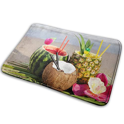 Price comparison product image DHUNM Cocktail-Watermelon-Pineapple-Beach-Tropical-Coconut-Drinks Cute Animal Carpet Single-Sided Printing Carpet Polyester Carpet Necessary Carpet for Room,  Kitchen and Toilet