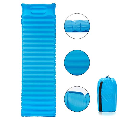 IYMSS Camping Mat, Inflatable Sleeping Mat Pad with Inflatable Bag with Pillow, Waterproof Leak-Proof Inflating Single Bed Ultralight Sleeping Pad for Backpacking Camping Hiking,Blue