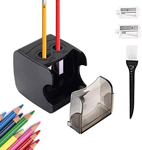 Hommini Bleistiftspitzer Elektro, Dual Löcher USB & Batteriebetriebene Hand Bleistiftspitzer Automatische Schneiden, Heavy Duty Buntstifte Cutter für