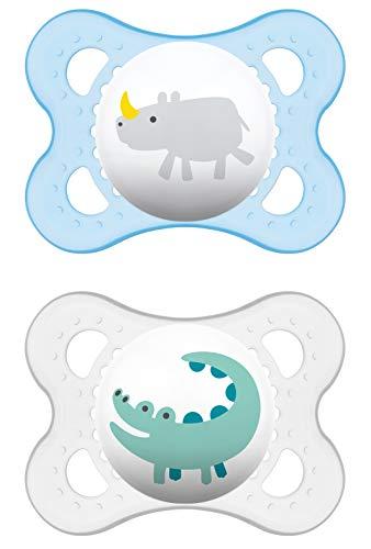 MAM Original Latex Schnuller im 2er-Set, symmetrischer und kiefergerechter  Sauger, Baby Schnuller aus Naturkautschuk mit Schnullerbox, 0 - 6 Monate, blau