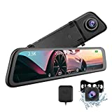"T12 Mirror Dash Cam - CARCHET 2.5k Mirror Dash Cam for Cars with 12"" IPS Full Touch Screen & Waterproof Rear View Camera Backup Camera, Sony IMX 335 Sensor Parking Monitor Voice Control, GPS Tracking"
