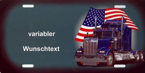 Nummernschild US-Truck Peterbilt selbst Gestalten und Bedrucken Witterungsbeständig Farbecht Ideale Geschenkidee | Metallschild, Aluminium-Schild als individuelles Trucker-Accessoire | LKW-Zubehör selbst gestalten | Aluschild, Kennzeichen-Schilder mit Namen & Wunschtext