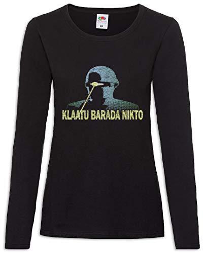 Urban Backwoods Klaatu Barada Nikto Women T-Shirt Mujer Camiseta de Manga Larga Negro Talla M