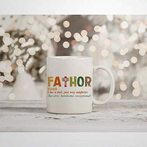 N\A Marvel Thor Inspired Fathor Avengers Taza de café Taza de té Thors Hammer Cup Regalo del día del Padre Novedad Taza de cerámica Regalo de cumpleaños de Navidad para Hombres y Mujeres