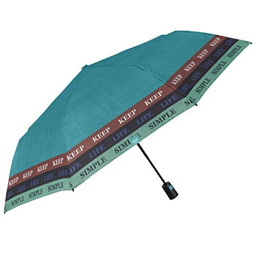 Paraguas Plegable Automático Colorado Mujer - Paraguas Portátil Colores en Microfibra - Paraguas Tamaño Pequeño de Viaje Cortaviento Resistente - Diámetro 96 cm - Perletti (Azul Keep Life Simple)