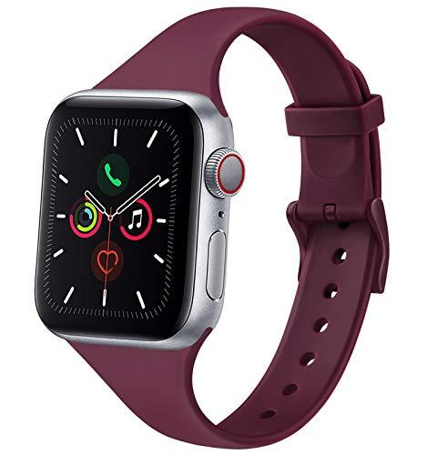 Mugust Cinturino Silicone Compatibile con Apple Watch 38mm 40mm 42mm 44mm, Cinturino Sottile per Uomo Donna di Ricambio, con Fibbia in Colore per iWatch SE Series 6 5 4 3 2 1