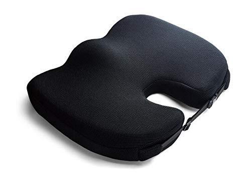 NMBD Memory Foam Antiscivolo rimanenze Cuscino Pad, Regolabile Car Seat Cuscini, Adulto Seggiolino Auto Booster Cush (Color : Black)