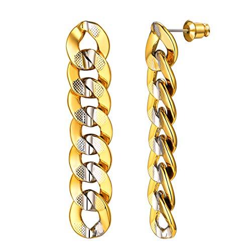 Women Personalized 2-Tone Metal Cuban Chain Earrings, Dangling Earrings with Gift Box