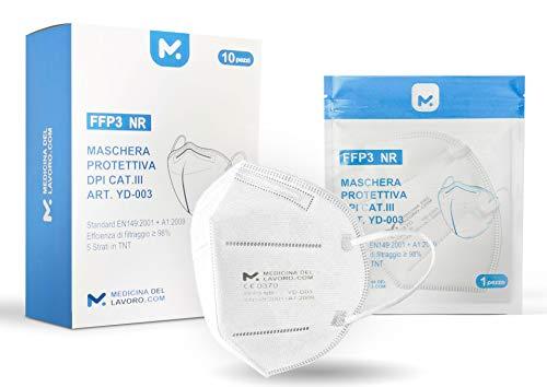 10 FFP3 Mund- und Nasenschutz Maske mit EC Zertifizierung, 5 lagige Maske ohne Ventil, Staub- und Partikelschutzmaske, medizinische Schutzmaske mit hoher BFE-Filtereffizienz ≥ 98, 10 Atemschutzmaske