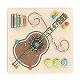 BIUYYY Bois Puzzle Jouet De Jeu Educatif Multicolore - Jouets Muraux Perles Rondes Guitare, Jeu D'habilité pour Tout-Petits Et Jardins d'enfants