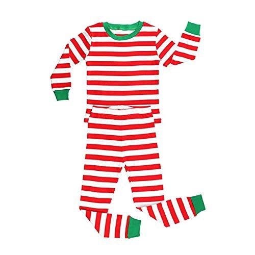 elowel | Pyjama | Schlafanzug | Unisex | Jungen, Mädchen | 2-Teilig | Eng Anliegend | Stylish, Bequem | Strampler | mit Füßen | 100% Baumwolle Größe: 4 Jahre (104) | Design: Rot-Weiß Gestreift