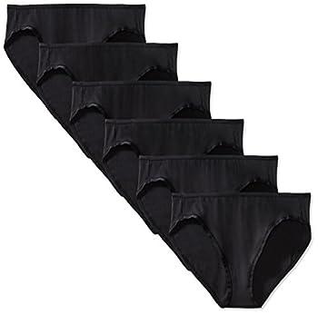 Amazon Essentials Women s Cotton Stretch Bikini Panty 6 Pack Black Medium