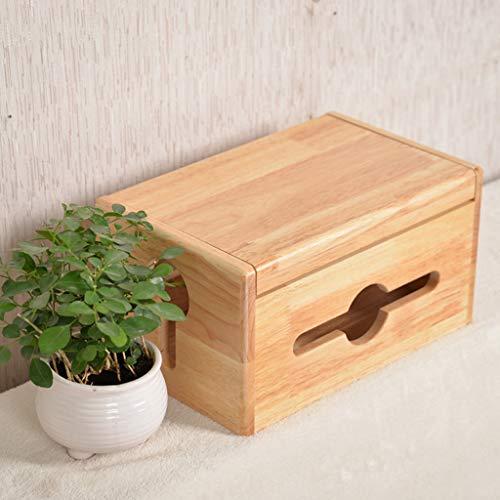 Brmind Kabel afwerkingsdoos, stopcontact opbergdoos rubber hout helder water verf, geschikt voor bureau, TV, PC, huis en kantoor, puur hout clamshell