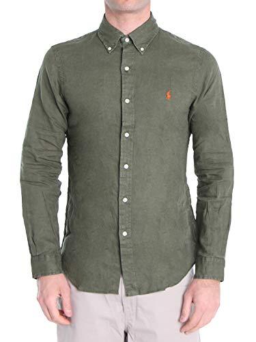 Polo Ralph Lauren Mod. 710794142 Camisa Lino Slim Fit Hombre Verde M