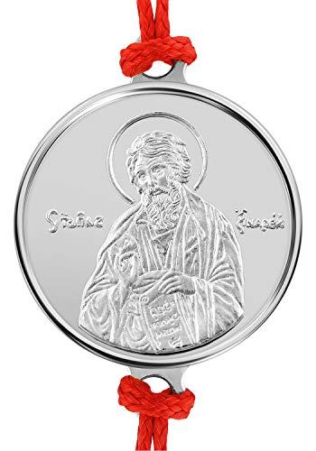 Pulsera artesanal de hilo rojo con medalla en plata religiosa San Andrés el Apóstol 16 mm, 1.2 g. Talla única con Sistema de Nudo corredizo.