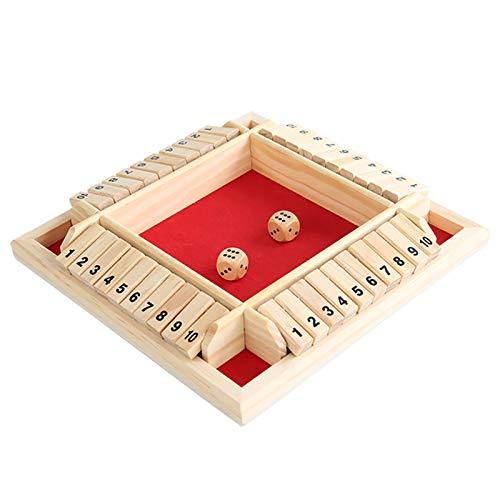 Fesjoy Cerrar el Juego de Dados de Caja,Juego de Dados Shut The Box 2-4 Jugadores Juego de Mesa de Madera clásico para niños y Adultos Educación Matemáticas Aprendizaje de Juguete Juego de Dados