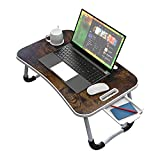 Foldable Bed Desk for Laptop and Writing,Portable Laptop & Notebook Bed Table with Portable Handle for Bed Eating Breakfast & Snaps,Reading Book,Watching Movie,Rustic Brown