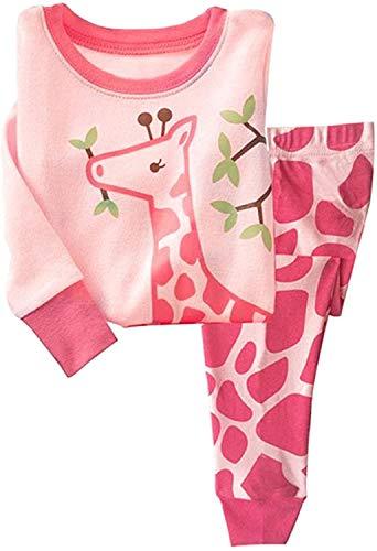 Qzrnly Niña Jirafa 2 Pieza Pijama 100% Algodon (1-10 Anos)
