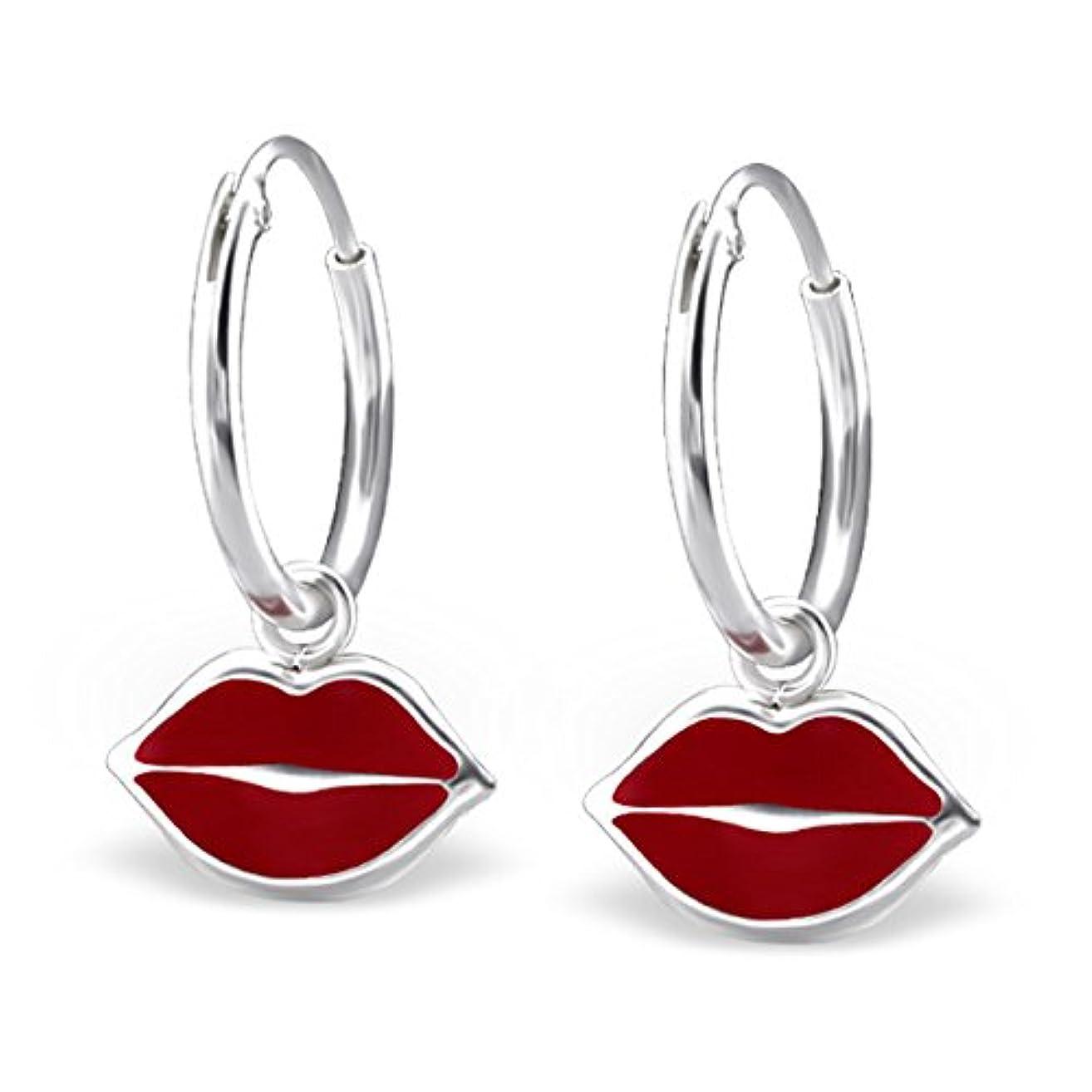 Genuine 925 Sterling Silver Red Lips Earrings Hoop Dangle