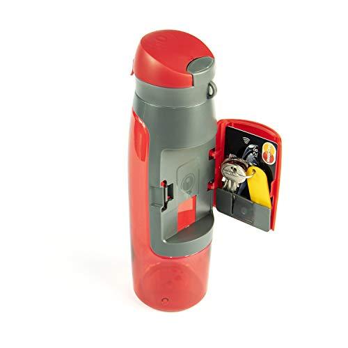 Profecus - Botella de agua con compartimento (750 ml), color rojo