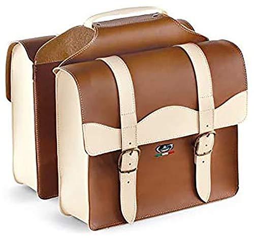 Tasche aus Leder mit 2 Fächern, doppelte Gepäckträgertasche 0024/V Monte Grappa Farbe Honig/Creme - Made in Italy