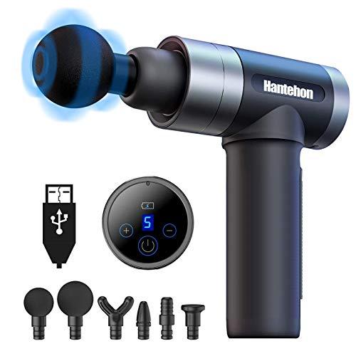 Hantehon Massagepistole, Tiefen Massagegerät mit 5 Geschwindigkeiten elektrisches Handmassagegerät mit 6 Massageköpfen und LED-Anzeige-Touchscreen für Nacken Schulter Rücken