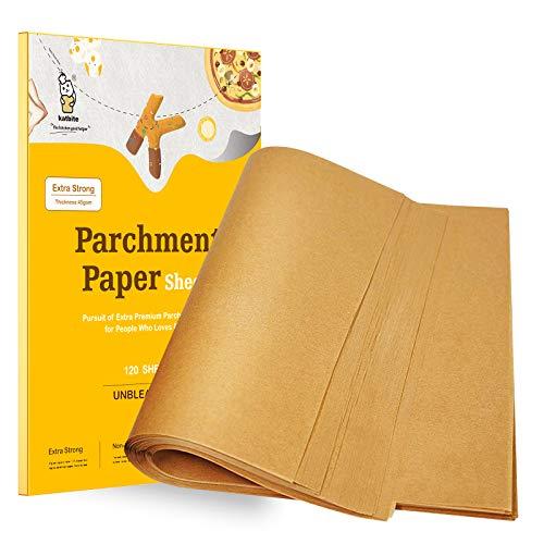 Unbleached Parchment Paper Baking Sheets, katbite Precut Parchment Paper Sheets, Heavy Duty, Non-stick, 12x16 Inch Half Sheet Paper 120Pcs