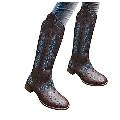 Dasongff Botas de vaquero para mujer con tacón de bloque bordado, clásicas, con tacón de bloque