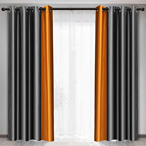 Maxzzz Blackout Curtains, Two-Color Stitching Fabric Window Curtains with Grommets for Living Room Bedroom Kids Room, 2 Panels (Gray + Orange, 52 x 63 inch)
