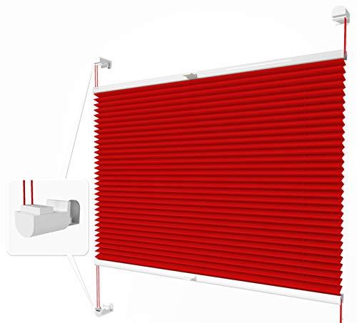 Home-Vision® Plissee Faltrollo ohne Bohren mit Klemmträger / -fix (Rot, B25cm x H150cm) Thermoplissee Sonnenschutz Jalousie für Fenster & Tür