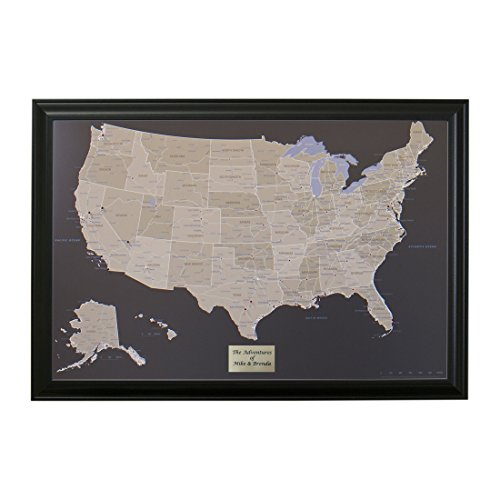 Push Pin Travel Maps Personalized Earth Toned US with Black Frame and Pins - 27.5 inches x 39.5 inches