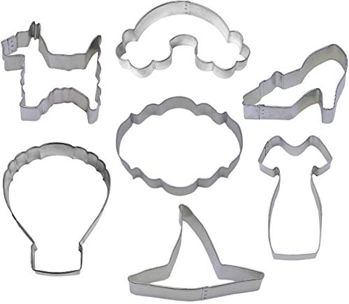 Wizard of Oz Cookie Cutter Set - 7 Piece - Ruby Slipper, Dorothy's Dress, Witch Hat, Hot Air Balloon, Rainbow, Dog - Stainless Steel