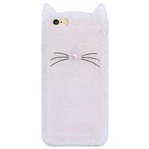 Cat iPhone 6 6S Case Cute Funny Kitty Design Glitter Silicone Soft Protective Cover for Girls Child for iPhone 6 6S 4.7 Inch Sparkly Bling Lovely 3D Whiskers Ears Cats Kitten Skin for Teens Kids…