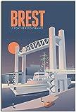 Leinwand Bilder Vintage Reise Poster Brest Le Pont De