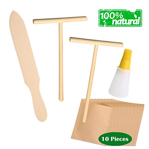 9M9 Natural Beechwood Crepe Spreader & Spatula Set | 10 Piece Food kraft paper bag| Convenient Sizes to Fit Any Crepe Pan Maker | Premium Finish |Home Kitchen/cafe | Breakfast Pancakes |