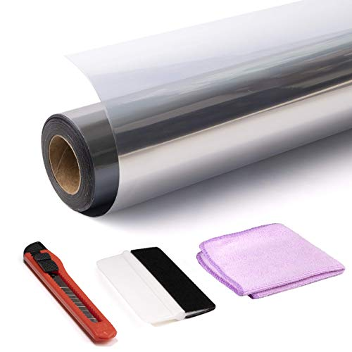 Reivol Film Miroir Sans Tain Réfléchissant Solaire Film Fenêtre Occultant Anti Chaleur/Anti UV/Anti Regard Intimité Kit (cutter, raclette vitre, serviette)+E-BOOK Inclus (Silver, 45*300cm)