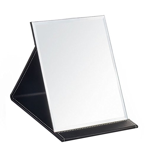 Desk Mirror, JOLY Pu Leather Portable Folding Desktop Makeup Mirror with Adjustable Stand for Personal Office Travelling (L, Black)
