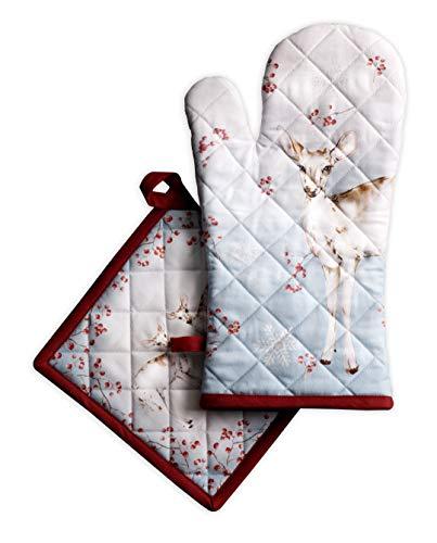 Maison d' Hermine Fairytale Forest Ensemble gant de cuisine 100 % coton 19 cm x 33 cm et manique 20 cm x 20 cm pour barbecue | cuisson | cuisson | gril | micro-ondes | barbecue | Thanksgiving / Noël