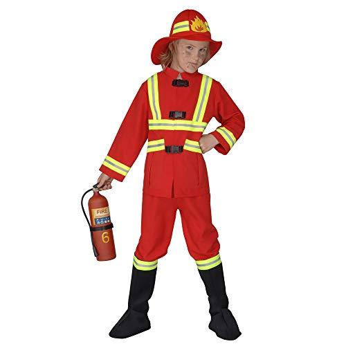 Widmann 55707 - Kinderkostüm Feuerwehrmann, Kasack, Hose, Stiefelbedeckung und leuchtender Helm, Größe 140