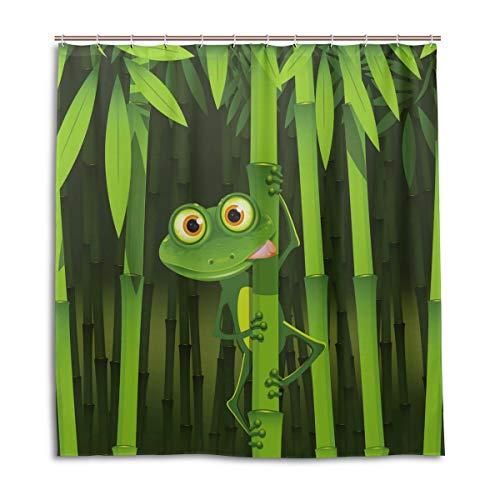 BIGJOKE Duschvorhang, Frosch, Bambus, schimmelresistent, wasserdicht, Polyester, 12 Haken, 167,6 x 182,9 cm, Heimdekoration