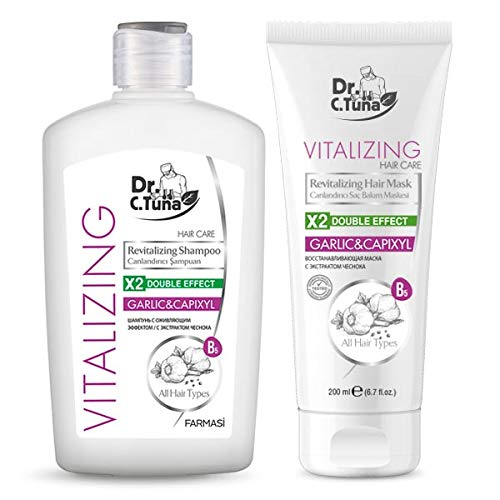 Farmasi Dr. C. Tuna Vitalizing Revitalizing Garlic & Capixyl Hair Care SET! | Shampoo 17 fl oz / 500 ml | Hair Mask, 6.7 fl.oz/ 200 ml |