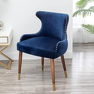 Roundhill Furniture Lindale Velvet Upholstered Nailhead Trim Accent Chair, Blue