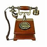 Sxrdz Teléfono fijo para el hogar EUROPEO ANTIGUO TELÉFONO DIAL ROTARIO Teléfonos Retro Teléfono de escritorio de línea fija, Teléfono con cable para el hogar y la decoración, marrón creativo de teléf