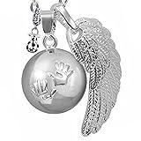 BOLA Collar de embarazo colgante campana Harmony Ball'Llamador de ángeles' Joya musical para embarazadas de maternidad con cadena de alas de ángel y bola (114 CM, ARGENT)