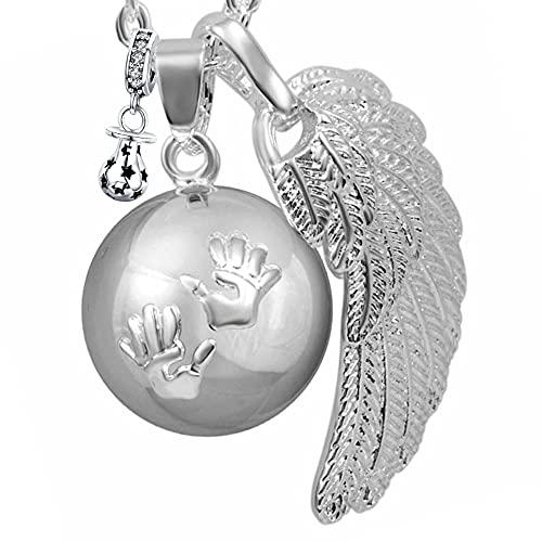 """BOLA Collar de embarazo colgante campana Harmony Ball""""Llamador de ángeles"""" Joya musical para embarazadas de maternidad con cadena de alas de ángel y bola (114 CM, ARGENT)"""