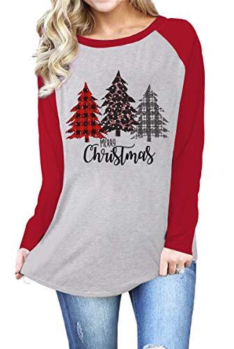 MNLYBABY Plus Size Merry Christmas Plaid Leopard Tree Print Raglan T-Shirt Long Sleeve Splicing Tops Tees Shirts for Women White